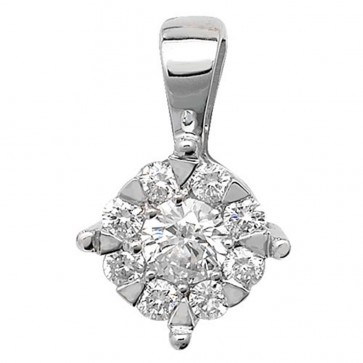 9ct White Gold 0.25ct Diamond Pendant On A Belcher Necklace