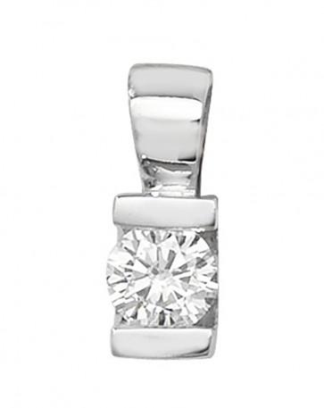 9ct White Gold 0.23ct Single Diamond Stone Pendant On A Belcher Necklace