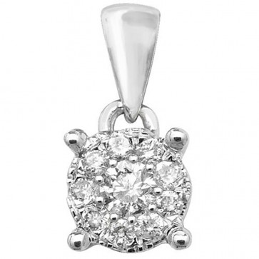 9ct White Gold 0.15ct Diamond Pendant On A Belcher Necklace