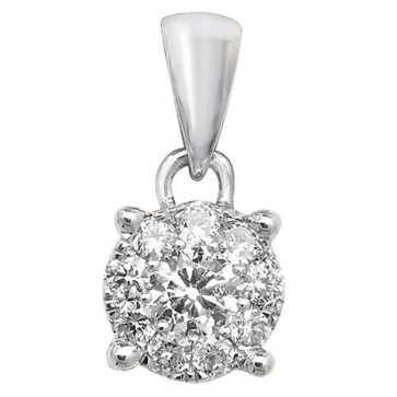 9ct White Gold 0.2ct Diamond Pendant On A Belcher Necklace