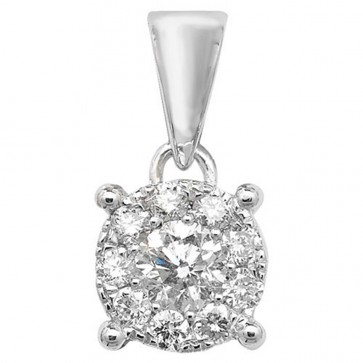 Children's 9ct White Gold 0.25ct Diamond Pendant On A Prince of Wales Necklace