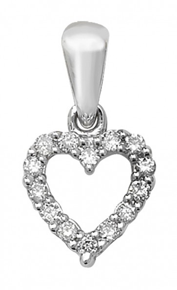 Children's 9ct White Gold 0.11ct Diamond Heart Pendant On A Prince of Wales Necklace