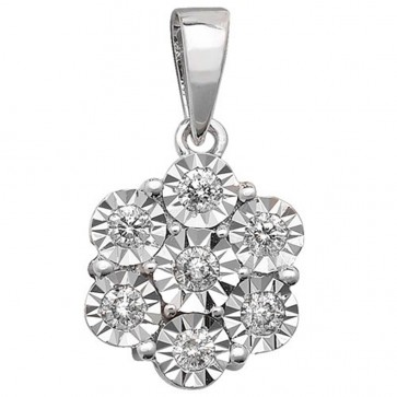 Children's 9ct White Gold 0.25ct Illusion Set Diamond Pendant On A Prince of Wales Necklace