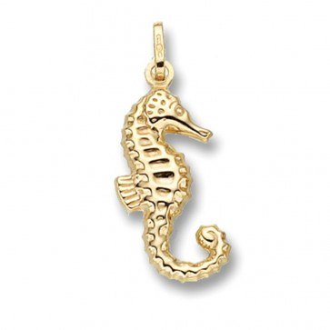 Men's 9ct Gold Seahorse Pendant On A Curb Necklace