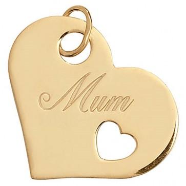 9ct Gold Mum Heart Pendant On A Belcher Necklace