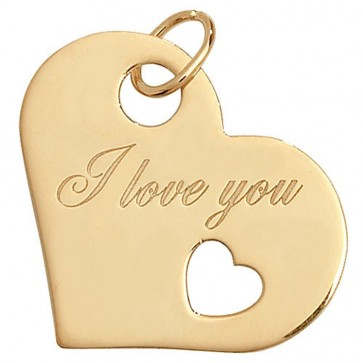 Children's 9ct Gold I Love You Heart Pendant On A Prince of Wales Necklace