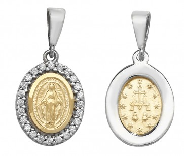 Children's 9ct Gold Oval Miraculous Pendant On A Prince of Wales Necklace