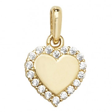 9ct Gold Cubic Zirconia Heart Pendant On A Belcher Necklace