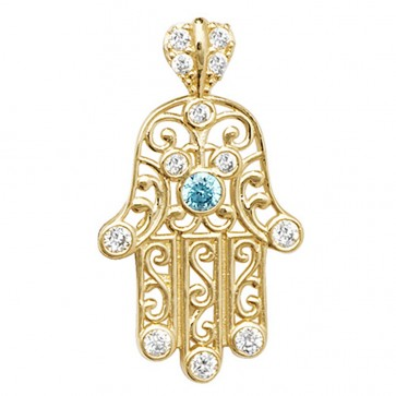 9ct Gold White and Blue Cubic Zirconia Hamsa Pendant On A Belcher Necklace