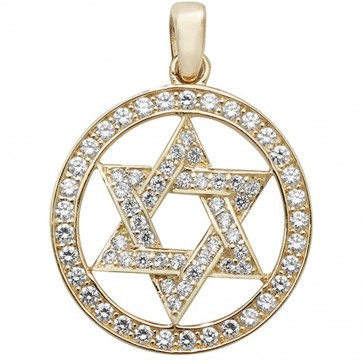9ct Gold Cubic Zirconia Star Of David Pendant On A Belcher Necklace