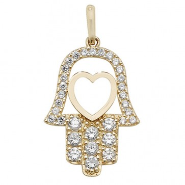 Men's 9ct Gold Cubic Zirconia Hamsa Pendant On A Curb Necklace