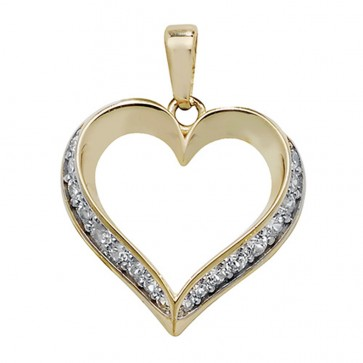 9ct Gold Cubic Zirconia Edged Heart Pendant On A Belcher Necklace