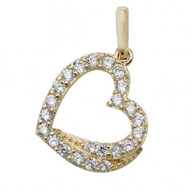 Men's 9ct Gold Multi Cubic Zirconia Heart Pendant On A Curb Necklace