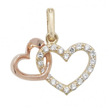 Men's 9ct Yellow and Rose Gold Cubic Zirconia Double Heart Pendant On A Curb Necklace