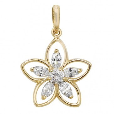 9ct Gold Cubic Zirconia Daisy Pendant On A Belcher Necklace