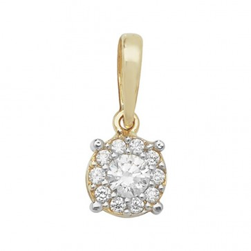 Children's 9ct Gold Cubic Zirconia Round Pendant On A Prince of Wales Necklace