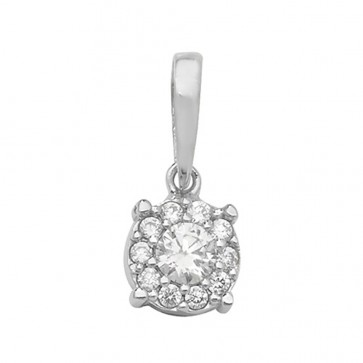 9ct White Gold Cubic Zirconia Round Pendant On A Belcher Necklace