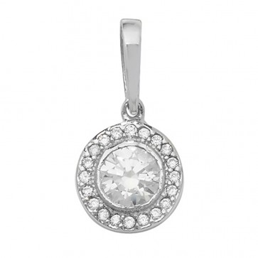 Men's 9ct White Gold Cubic Zirconia Circle Pendant On A Curb Necklace