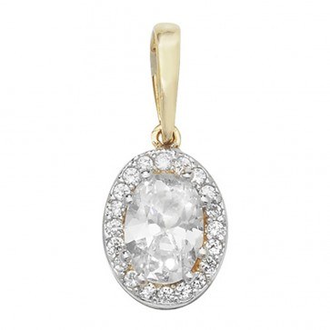 Men's 9ct Gold Cubic Zirconia Oval Pendant On A Curb Necklace