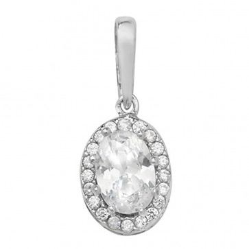 Children's 9ct White Gold Cubic Zirconia Oval Pendant On A Prince of Wales Necklace