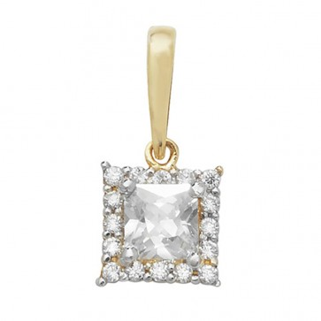 Children's 9ct Gold Cubic Zirconia Large Square Pendant On A Prince of Wales Necklace