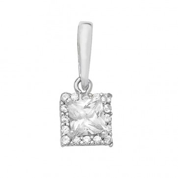 Men's 9ct White Gold Cubic Zirconia Small Square Pendant On A Curb Necklace