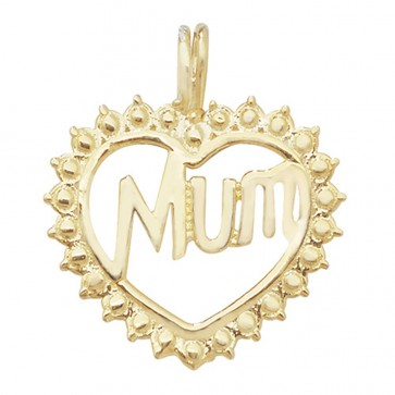 9ct Gold Mum Heart Pendant On A Belcher Necklace