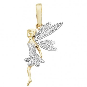 9ct Gold Cubic Zirconia Fairy Pendant On A Belcher Necklace