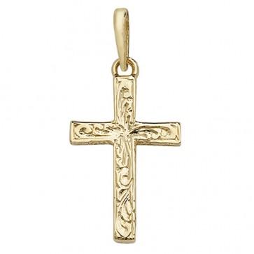 9ct Gold Fancy Engraved Cross Pendant On A Belcher Necklace