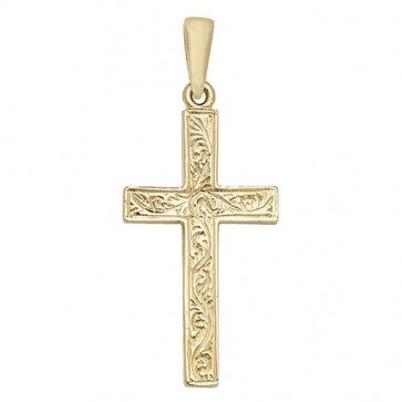 Children's 9ct Gold Engraved Cross Pendant On A Prince of Wales Necklace