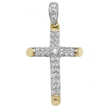 Men's 9ct Gold Large Cubic Zirconia Tubular Cross Pendant On A Curb Necklace