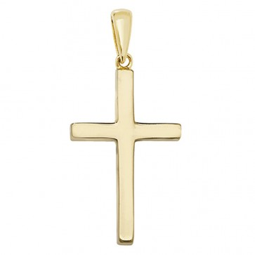 Children's 9ct Gold Solid Cross Pendant On A Prince of Wales Necklace
