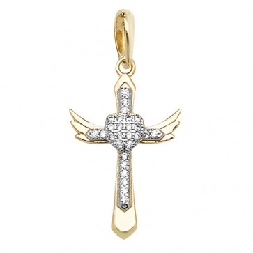 Men's 9ct Gold Cubic Zirconia Heart Cross Pendant On A Curb Necklace