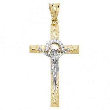 Children's 9ct Yellow and White Gold Cubic Zirconia Crucifix Pendant On A Prince of Wales Necklace