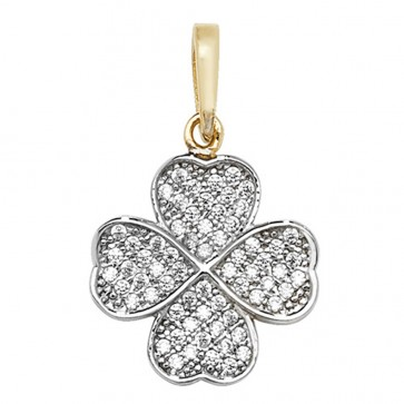 Children's 9ct Gold Cubic Zirconia Four Leaf Clover Pendant On A Prince of Wales Necklace
