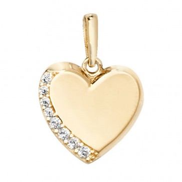 9ct Gold One Edge Cubic Zirconia Heart Pendant On A Belcher Necklace