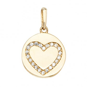 9ct Gold Disk With Cubic Zirconia Heart  Pendant On A Belcher Necklace