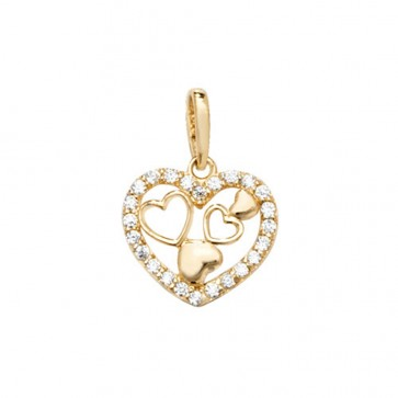 Men's 9ct Gold Cubic Zirconia Multi Heart Pendant On A Curb Necklace