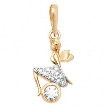 9ct Gold Cubic Zirconia Fairy Sitting Pendant On A Belcher Necklace