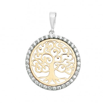Men's 9ct Yellow and White Gold Cubic Zirconia 20mm Round Tree Of Life Pendant On A Curb Necklace