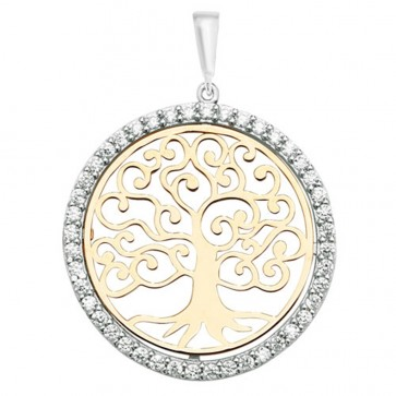 9ct Yellow and White Gold Cubic Zirconia 26mm Round Tree Of Life Pendant On A Belcher Necklace
