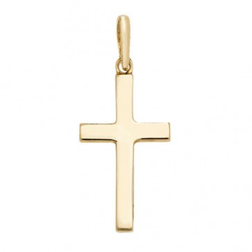 Men's 9ct Gold Plain Solid Cross Pendant On A Curb Necklace