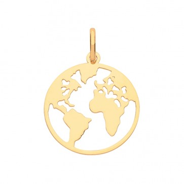 Men's 9ct Gold Plain World Map Pendant On A Curb Necklace