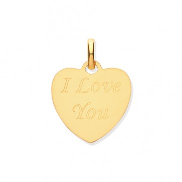 9ct Gold I Love You Engraved Heart Pendant On A Belcher Necklace