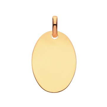 Men's 9ct Gold Solid Plain Oval Pendant On A Curb Necklace