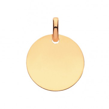 Men's 9ct Gold Solid Plain Circle Pendant On A Curb Necklace