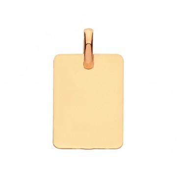 Men's 9ct Gold Solid Plain Rectangular Pendant On A Curb Necklace