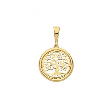 9ct Gold Small Plain Round Tree Of Life Pendant On A Belcher Necklace