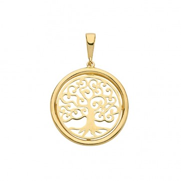Children's 9ct Gold Medium Plain Round Tree Of Life Pendant On A Prince of Wales Necklace