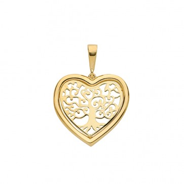 9ct Gold Medium Plain Heart Tree Of Life Pendant On A Belcher Necklace